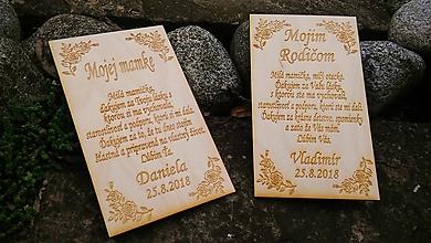Dekorácie - Ďakovná tabuľka rodičom - 9840190_