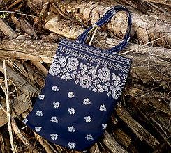 Nákupné tašky - nákupná taška - bordúra modrá - 9840700_