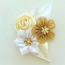 Pierka - Zlato- biele pierko pre ženícha - 9839970_