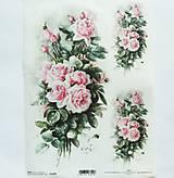 - Ryžový papier na decoupage -A4-R1209 - ruže, ružičky - 9839087_