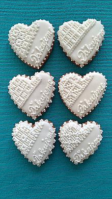 """Darčeky pre svadobčanov - Perníkové srdce STREDNÉ """"Ďakujeme"""" - 9839075_"""