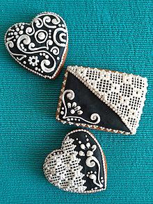 """Dekorácie - Perník čipkovaný """"Black and white"""" (Čierna) - 9839137_"""
