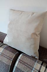 Úžitkový textil - dekoračný vankúš smotanovo-bežový - 9840631_