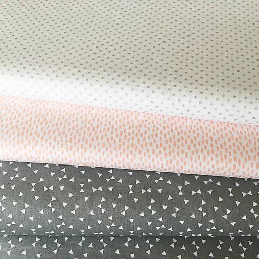 sivé trojuholníčky, 100 % bavlna Francúzsko, šírka 160 cm