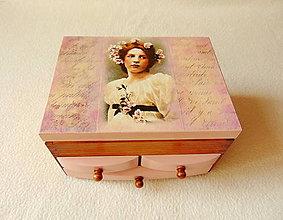 Krabičky - Šperkovnica so zrkadlom Zamyslená - 9841152_
