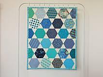 Úžitkový textil - Detská moderná deka vzor hexagon - 9839446_