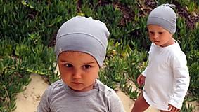 Detské čiapky - Detská rastúca merino čiapka so štýlovým uzlíkom - šedá (34) - 9841191_