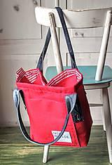 Veľké tašky - Ľanová sýto-červená taška - 9838842_