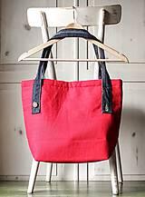 Veľké tašky - Ľanová sýto-červená taška - 9838843_