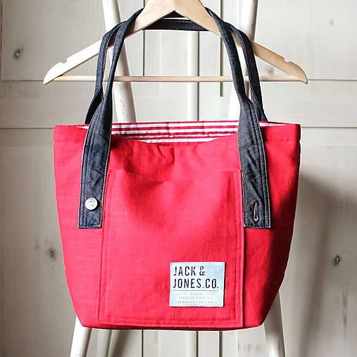 Ľanová sýto-červená taška