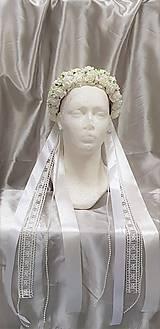 Nežná svadobná kvetinová parta s perličkami a čipkou