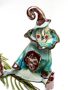Dekorácie - socha klaun sediaci tyrkysový - 9839837_