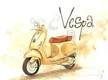 Obrázky - Vespa, motorka - ručne kreslený obrázok - 9839617_