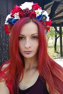 Ozdoby do vlasov - Modro červená jesenná parta - 9839905_