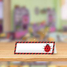 Papiernictvo - Minimalistická menovka do lavice pre prváčikov - lienka sedembodkovaná - 9838902_