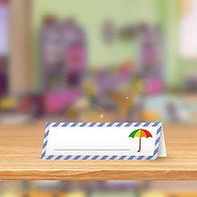 Papiernictvo - Minimalistická menovka do lavice pre prváčikov - dáždnik - 9838905_
