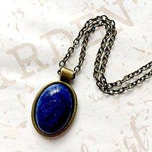 Náhrdelníky - Lapis Lazuli & Bronze Necklace / Náhrdelník s lazuritom /0076 - 9843433_
