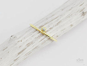 Prstene - 585/1000 zlatý zásnubný prsteň s prírodným diamantom SI1, E-F - 9843106_