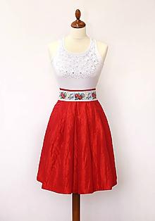 Sukne - Taftová spoločenská sukňa midi červená - 9841368_