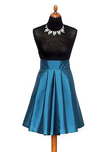 Sukne - Taftová spoločenská sukňa midi smaragdová - 9841384_