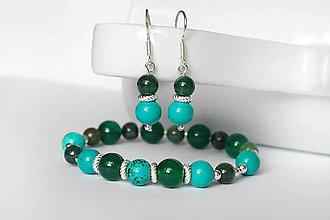 Sady šperkov - set z minerálov - tyrkys a achát / Ag - 9844516_