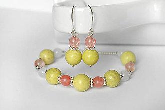 Sady šperkov - set z minerálov - jaspis a cherry kremeň / Ag - 9844534_