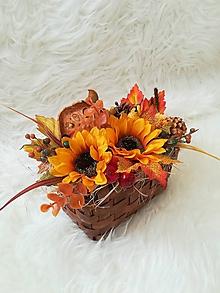 Dekorácie - Jesenná dekorácia v košíčku - 9843606_