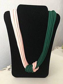 Náhrdelníky - Uzlový náhrdelník (ružovo - zelený) - 9841938_