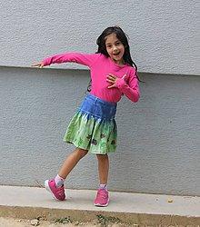 Detské oblečenie - Detská batikovaná suknička s kvetinkami - 9842100_