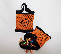 Detské tašky - Háčkovaná taška so vzorom lebky na Halloween. - 9843124_