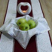Úžitkový textil - Strieborné hviezdičky so špirálkami na bielej  - vianočný štvorcový obrúsok 40x40 - 9842665_
