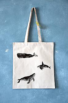 Iné tašky - Plátená taška, veľryby (Tri veľryby 2) - 9842801_