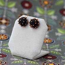 Náušnice - Pecičky (Čierna s oranžovými bodkami) - 9842557_