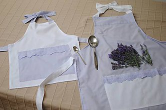 Iné oblečenie - Levanduľová zástera pre mamičku a dcérku - 9841443_