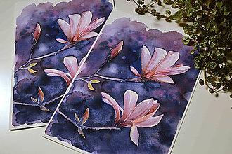 Grafika - Zimná magnólia, akvarel výtlačok (print) + originál - 9844559_