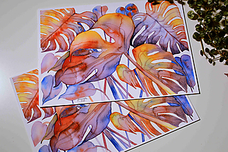 Grafika - Jesenná monstera, akvarel výtlačok (print) + originál - 9844576_
