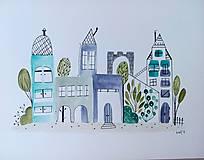 Obrazy - Mesto modré ilustrácia / originál maľba - 9844825_