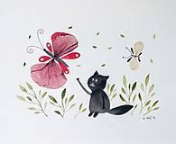 Obrazy - Mačka a motýľ  koláž / originál maľba - 9844831_