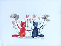 Obrazy - MačkY a kvety  koláž / originál maľba - 9844835_