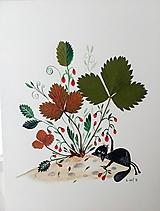 - Mačka a lesné jahody / originál maľba  - 9844841_