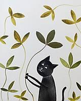 - Mačka a lístky  koláž / originál maľba  - 9844859_