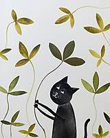 Obrazy - Mačka a lístky  koláž / originál maľba - 9844859_