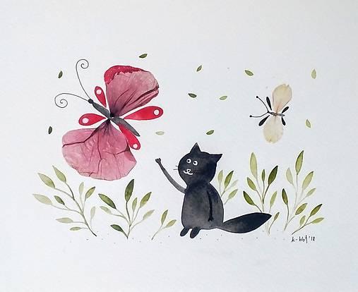 Mačka a motýľ  koláž / originál maľba