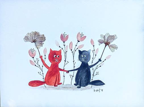 MačkY a kvety  koláž / originál maľba