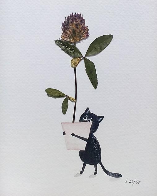 Mačka a lucerka   koláž / originál maľba