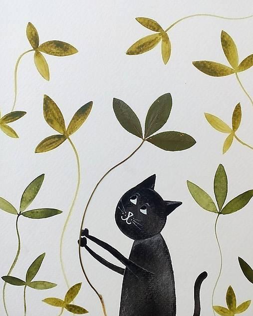 Mačka a lístky  koláž / originál maľba