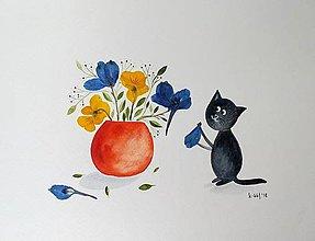 Obrazy - Mačka a sirôtky  koláž / originál maľba - 9844846_