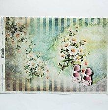 Papier - Ryžový papier na decoupage- A4-R1396 - akvarel, sedmokráska - 9845219_