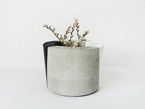 Nádoby - betónový kvetináč Black and White - 9847245_
