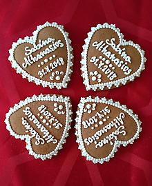 Darčeky pre svadobčanov - Perníkové srdce STREDNÉ 7,5 cm - 9845207_